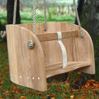 Wooden baby swing - could make a custom pad to put inside and attach to swing set