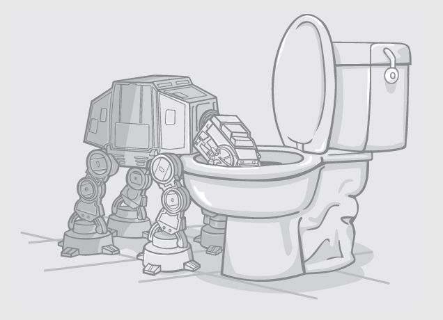 Star Wars - AT-AT drinking from the toilet. (That's a BIG toilet!)