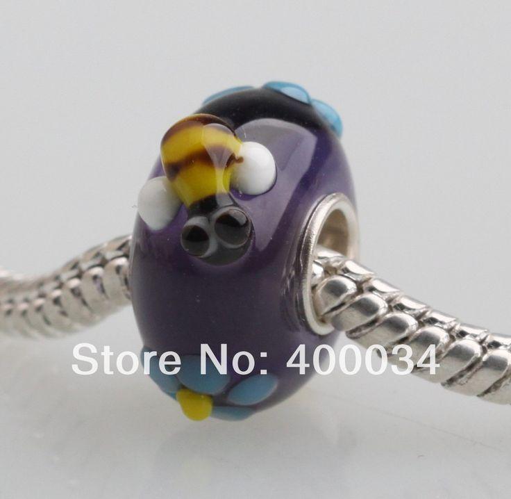 Би и синий цветок муранского стекла бусины , пригодный для 3 мм европейская мода ювелирных изделий и компоненты
