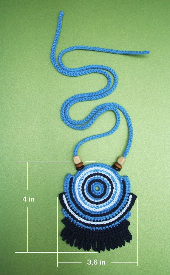 Crochet cotton thread geometric necklace with by LuluXuruuKnichet