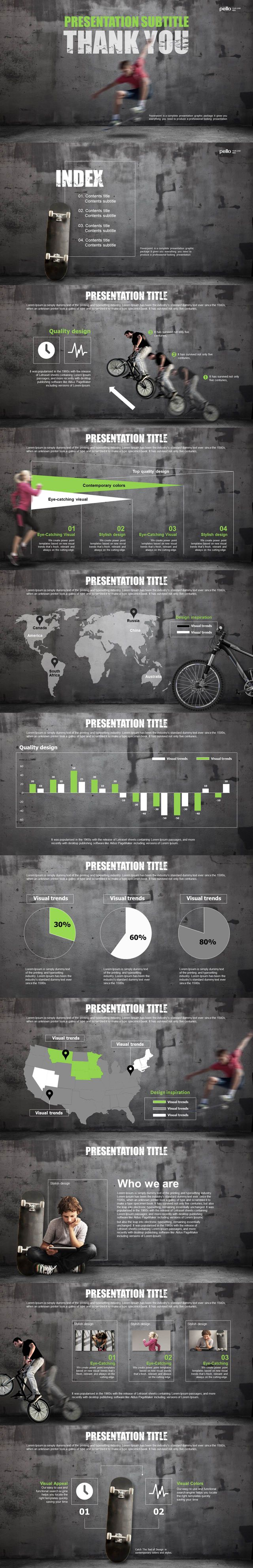 Presentation Design. Keynote, Powerpoint. Sport, City, Bicycle, Skateboard