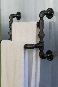 Steel Pipe Towel Rack by SteelGoods on Etsy, $125.00