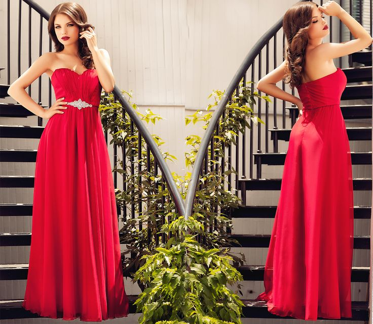 Red evening gown made from silk veil, with precious application at the waist, perfect for a wedding outfits as a guest, or bridesmaid.
