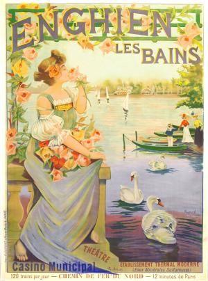 Magnifique affiche de Tournon. http://www.vintageposters.us/vintage-poster/New-Acquisitions/1824/ENGHIEN-LES-BAINS