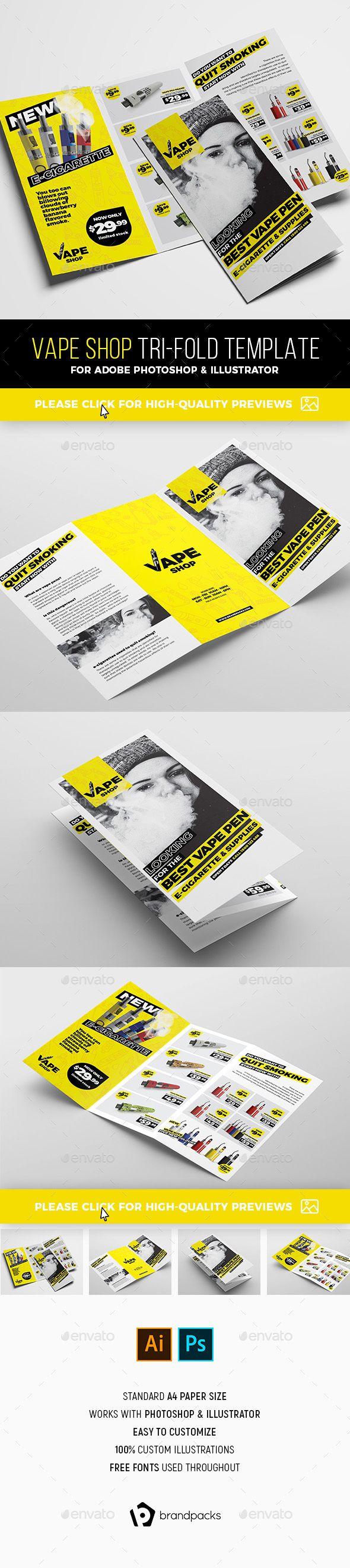Vape Shop #Tri-Fold Brochure Template - Catalogs #Brochures