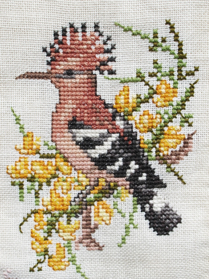 embroidery brown bird
