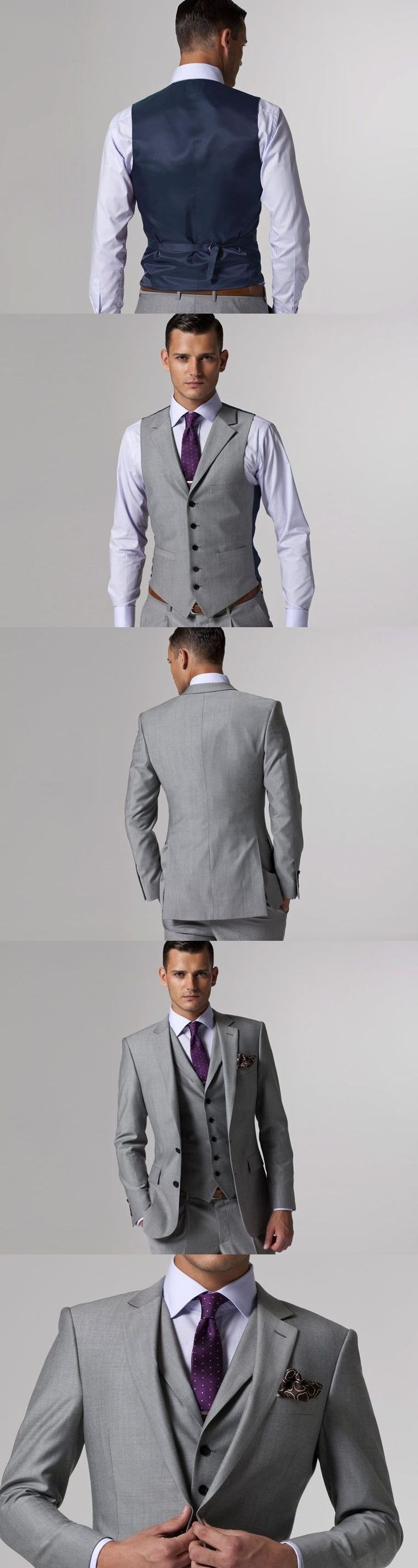 Gray Wedding Tuxedo Custom Made Grey Suits Gray Groom Suit Mens Gray Tuxedo Jacket,2017 Grey Wedding Tuxedos,3 Piece Grey Suit #menweddingsuits #menssuitsgrey