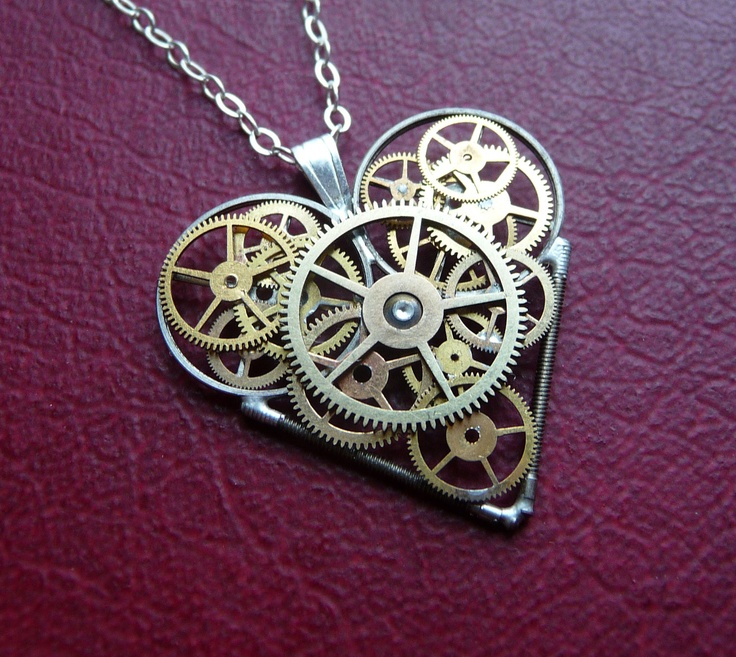 """Emote Control"" Elegant Industrial Heart Steampunk Necklace Clockwork Love Sculpture by A Mechanical Mind"