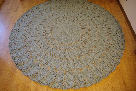 Crochet doily round rug 685'' 174 cm by AnuszkaDesign on Etsy, $160.00