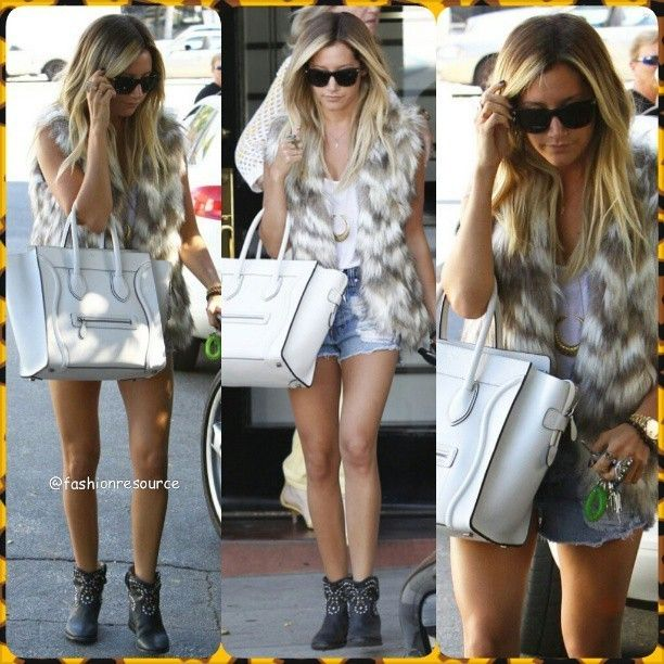 Ashley wears Mink Pink ripped denim shorts with a furry vest and cowboy boots and carries a Celine bag#ashleytisdale #blonde #gorgeous #minkpink #denim #denimshorts #celine #celinebag #fur #ripped #hotpants #hot #model #fashion #style #stylish #instastyle #instafashion #fashionista #styles #celebrity #ripped #streetstyle #streetfashion #girl #outfit #instalook #accessories #shoes #boots... - Celebrity Fashion