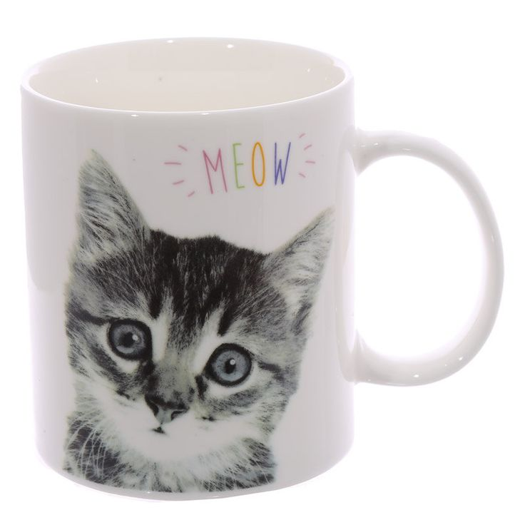 Coffee Mug Fun New Bone China Cup MEOW Cute Kitten Animal Pet Design Lovely Cat Print New Gift Idea by getgiftideas on Etsy