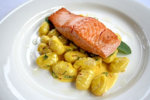 The Perfect Winter Warmer Pasta Recipe - Angelo's Fresh Pasta Products | Potato Gnocchi with Pan Fried Salmon and Creamy Saffron and Lemon Sauce
