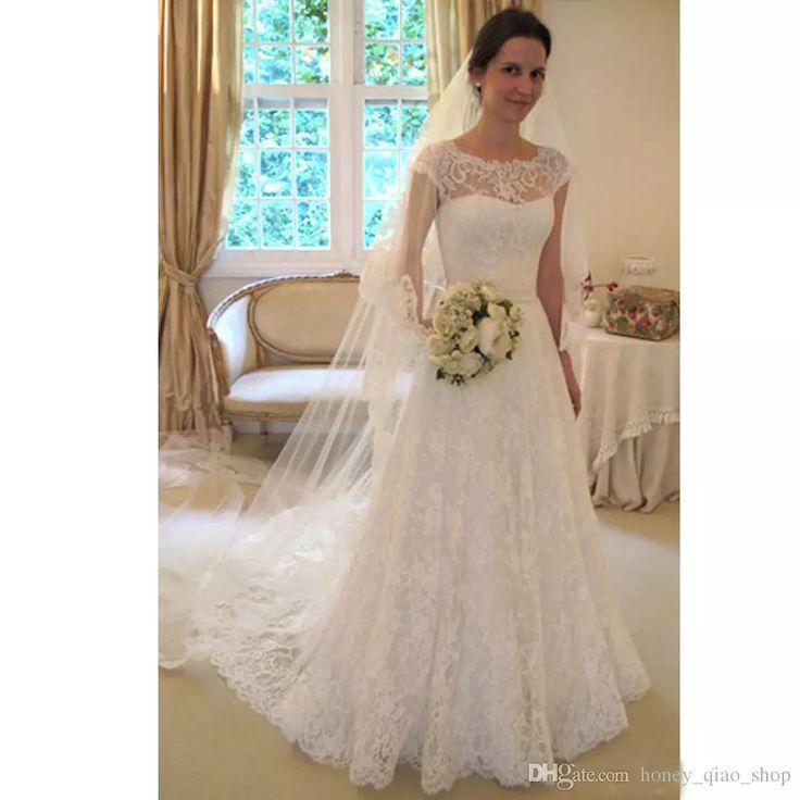 Simple Appliques Scoop Wedding Gowns Lace Vintage Wedding Dresses A Line Sweep Train Vestido De Novia Covered Button Illusion Bridal Gowns
