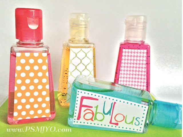 Personalized Mini Bottles Of Hand Gel -- FREE Printables