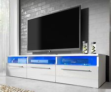 Modern High Gloss  TV Unit Cabinet Stand White Black Grey Free LED Lights 150cm