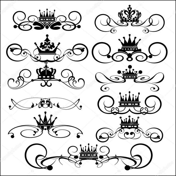 Descargar - Victoriaanse rollen en kroon. decoratieve elementen. Vintage — Ilustración de stock #7490281