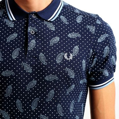 Camisa Polo Fred Perry Piquet Estampada Slim - Marinho