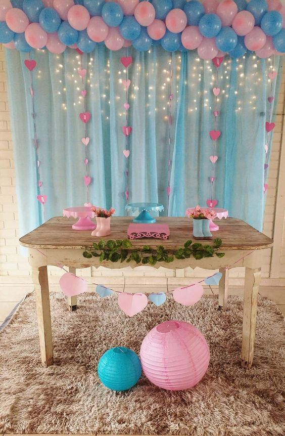 9723c5242 Blue and pink balloons with lit tulle great for gender reveal