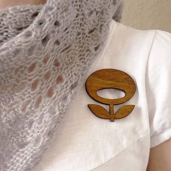 snug.flower  wooden brooch. $19.90, via Etsy.