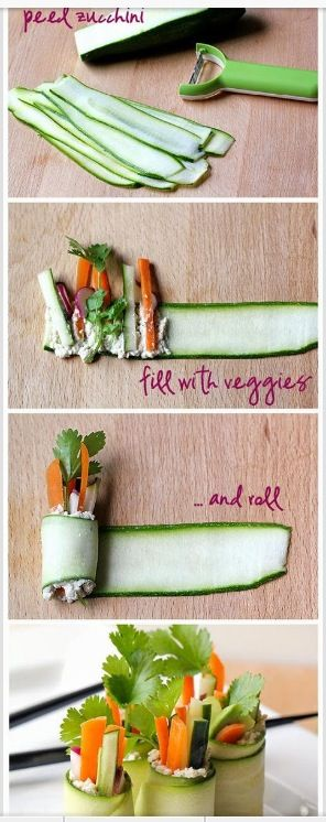 Cucumber wraps - ideal for a healthy pre-Christmas or NYE dinner party