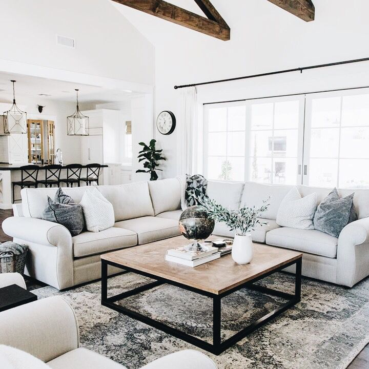 Love This Modern Urban Rustic Family Room Clean Bright And Inviting Spring Living Room Decor Farm House Living Room Living Room Decor Apartment