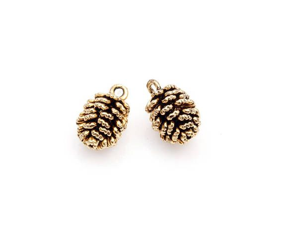 2pcs  Pinecone Charm in Antique Gold / cone charm / cone