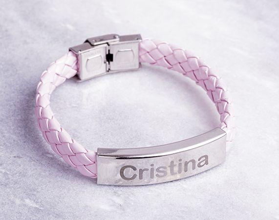 Pulsera personalizada de cuero trenzado rosa