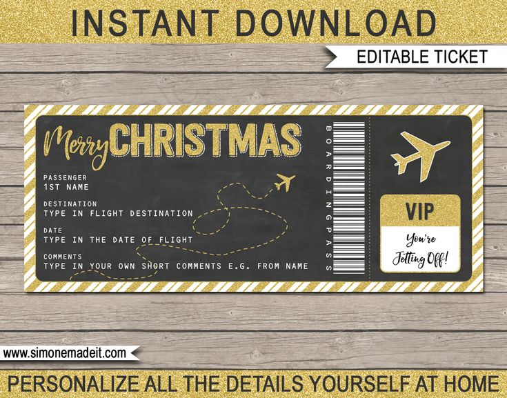 Printable Christmas Surprise Trip Gift Ticket Template | Printable Voucher | Boarding Pass | Christmas Present | DIY Editable & Printable Template | Gold Glitter | Instant Download via simonemadeit.com