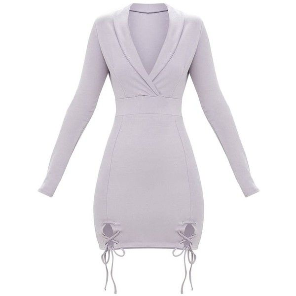 Ice Grey Lace Up Detail Blazer Bodycon Dress ($50) ❤ liked on Polyvore featuring dresses, laced up dress, body conscious dress, grey dresses, lace up dress and lace front dress