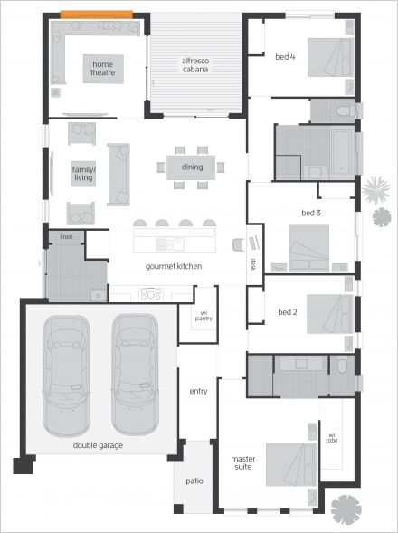 Brooklyn One - Floor plan: Ideally suited to a 15m block these designs offer a relaxed open plan which effortlessly extend into a well positioned Alfresco, the needs of growing families are also met with the inclusion of a Home Theatre. These areas deliver quality entertaining options inside and out. #homedesign #floorplan #mcdonaldjoneshomes #mcdonaldjones #luxuryhome