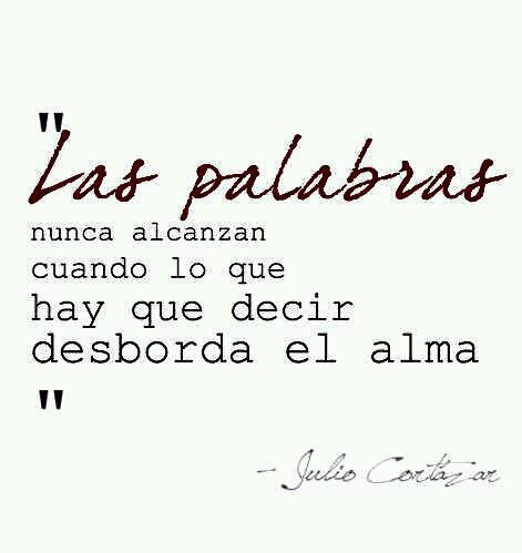 Las palabras de Julio Cortazar Words are never enough when what needs to be said overflows the soul. ~ Julio Cortázar.