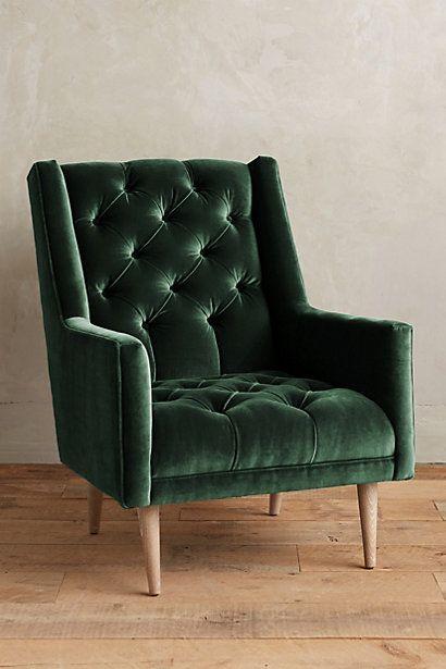 "Velvet Booker Armchair #anthropologie $1198 Dimensions 37""H, 29""W, 36""D Seat: 16""H Back: 21""H"