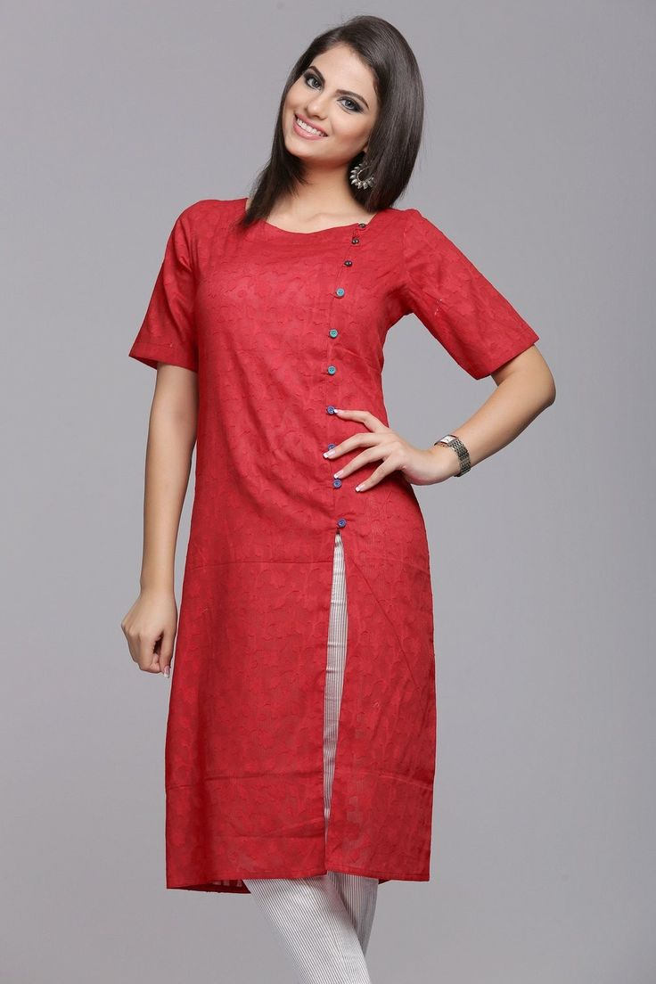 Stylish Self-Patterned Red Cotton Jacquard Kurta With Front Slit & Multicolored Buttons