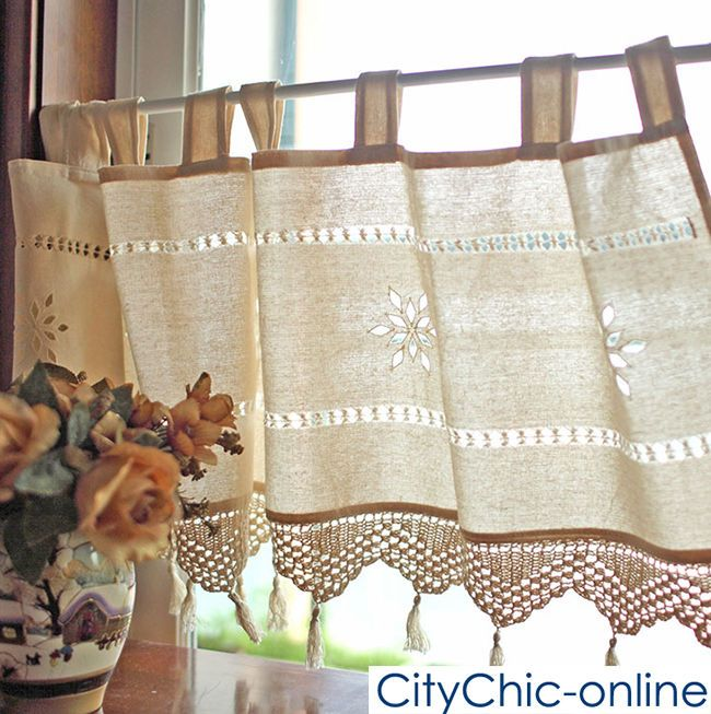 Country Style French Provincial Home Kitchen Linen Embroidery Cafe Curtain #FrenchCountry