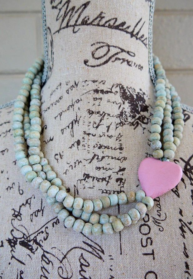 """Wooden bead necklace - Nandi (which means """"sweet"""")  3 string with heart"""