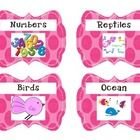 This is a collection of polka dot book box labels each containing words and matching pictures....