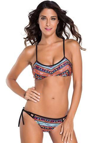 Maillot de Bain Bikini Femme Ethnique Imprimee A Bretelles