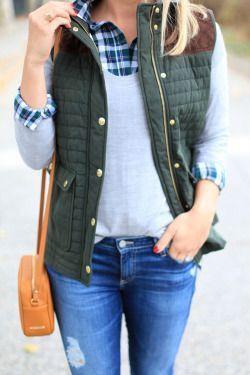 fall // vest, sweater, plaid shirt, denim, preppy