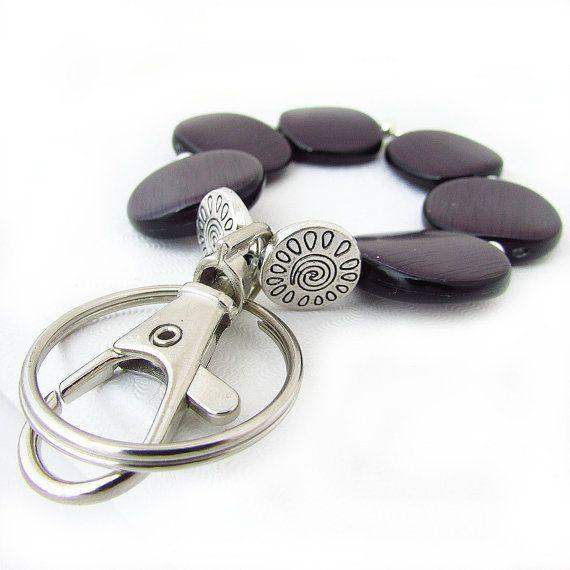 Bracelet Keychain, Wristlet Lanyard, Wood Bead Keychain Bracelet, Bracelet Key Chain, Key Chain Bracelet