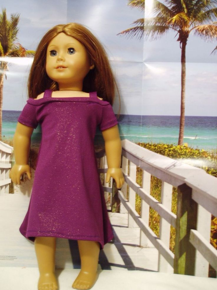 """Sparkly Purple Dress with Peek-a-Boo sleeves Fits American Girl 18"""" Doll Clothes #TracysDesigns1"""