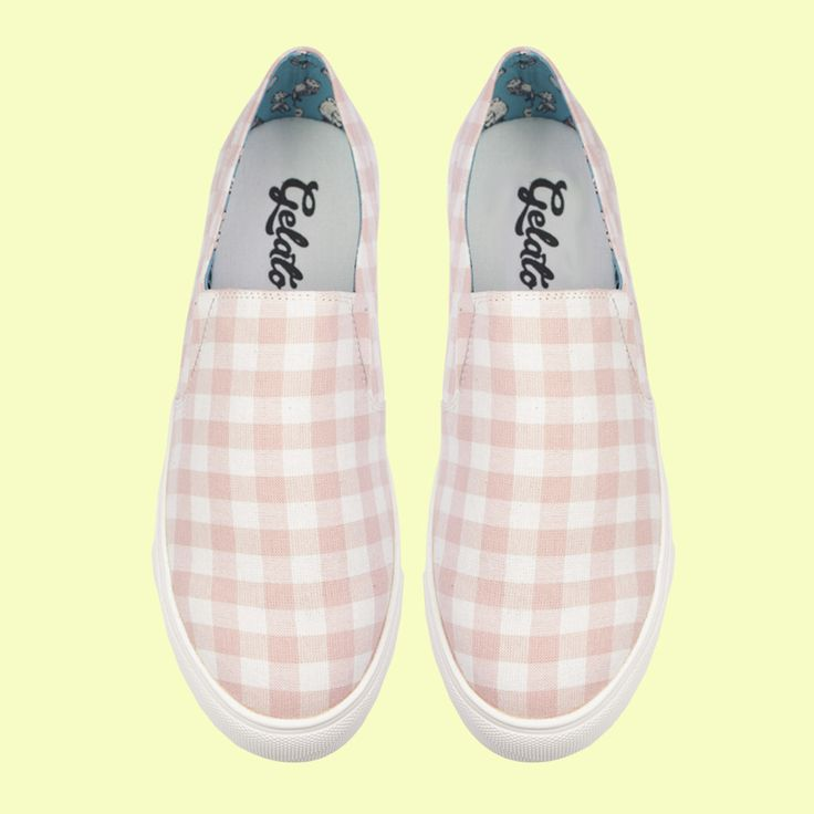 Freeze by Gelato in a fun checkered slip on shoe. Available at Rosenberg Shoes in pink checks and blue checks, and sizes EU 43-45.
