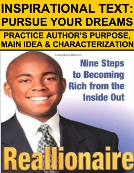 "Inspirational Text to Practice Characterization, Main Idea & Author's Purpose: Article about a ""regular"" man who worked hard to become a millionaire: The Reallionaire! This article and accompanying guiding questions is perfect to practice margin summaries, main idea, characterization and/or author's purpose. Use this inspirational, interesting informational text to teach reading strategies #interestingnonfictionarticles"