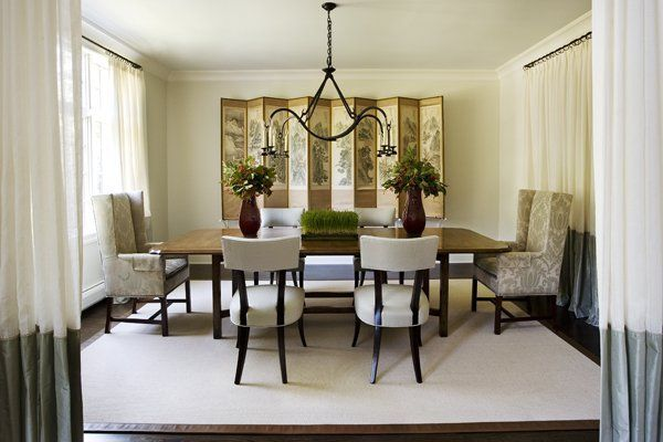 two tone drapery: Formal Dining Rooms, Modern Dining Rooms, House Ideas, Design Ideas, Dining Room Decorating, Room Ideas, Rooms Ideas, Room Decorating Ideas, Dining Room Design