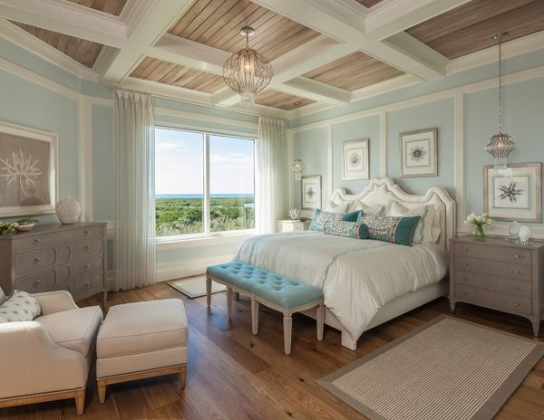 Beach style bedroom interior design with coffered ceiling natural wood panels