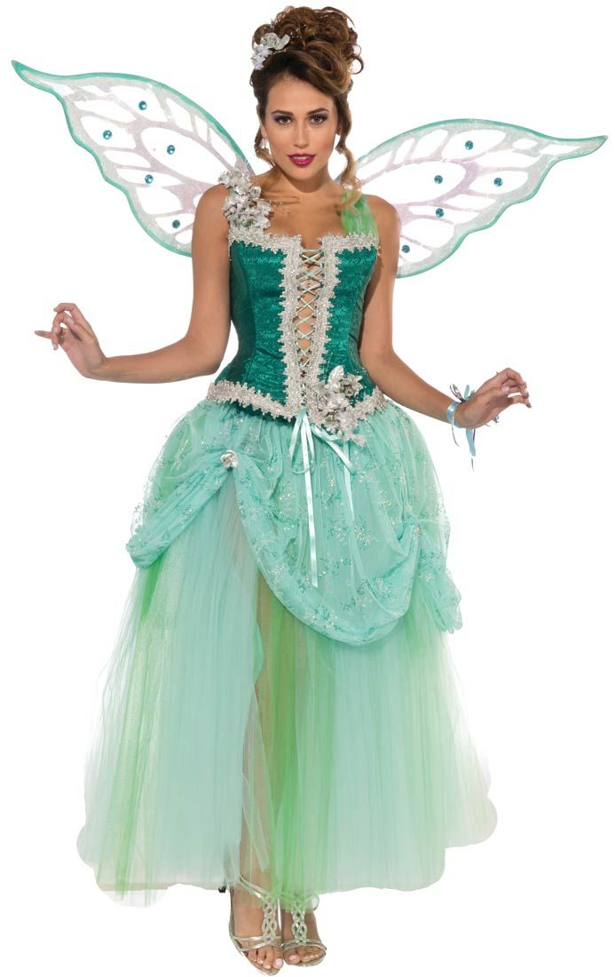 deluxe emerald fairy costume fairy costumes - Green Fairy Halloween Costume