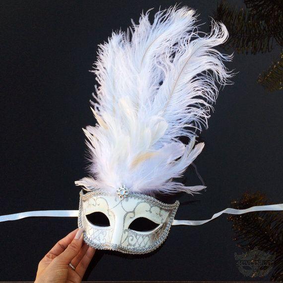 Máscara de la mascarada de pluma, máscara de la mascarada del carnaval con diamantes, máscara del traje de bodas, vestido de Gatsby gran máscara, despedida de soltera