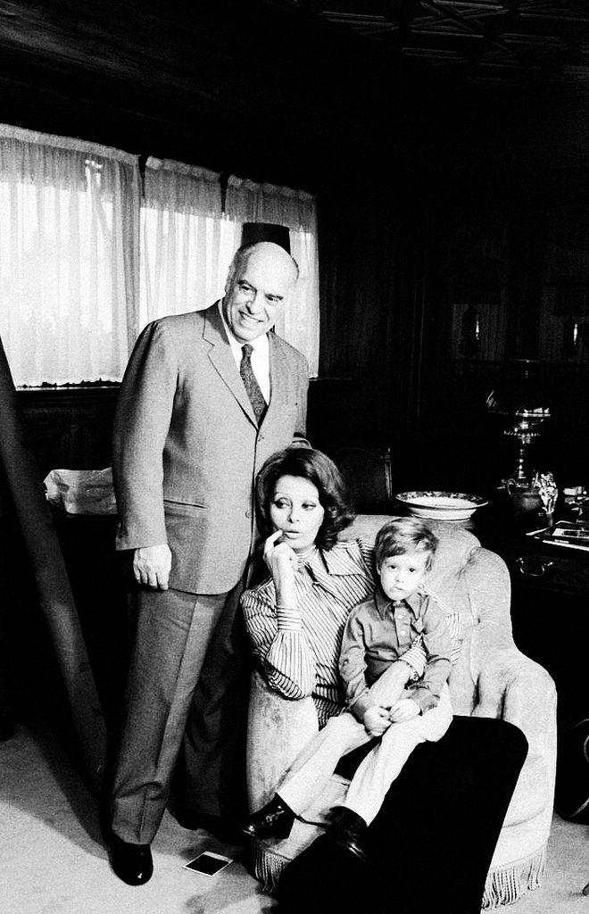 Sophia Loren with her husband Carlo Ponti and their son Edoardo at home.