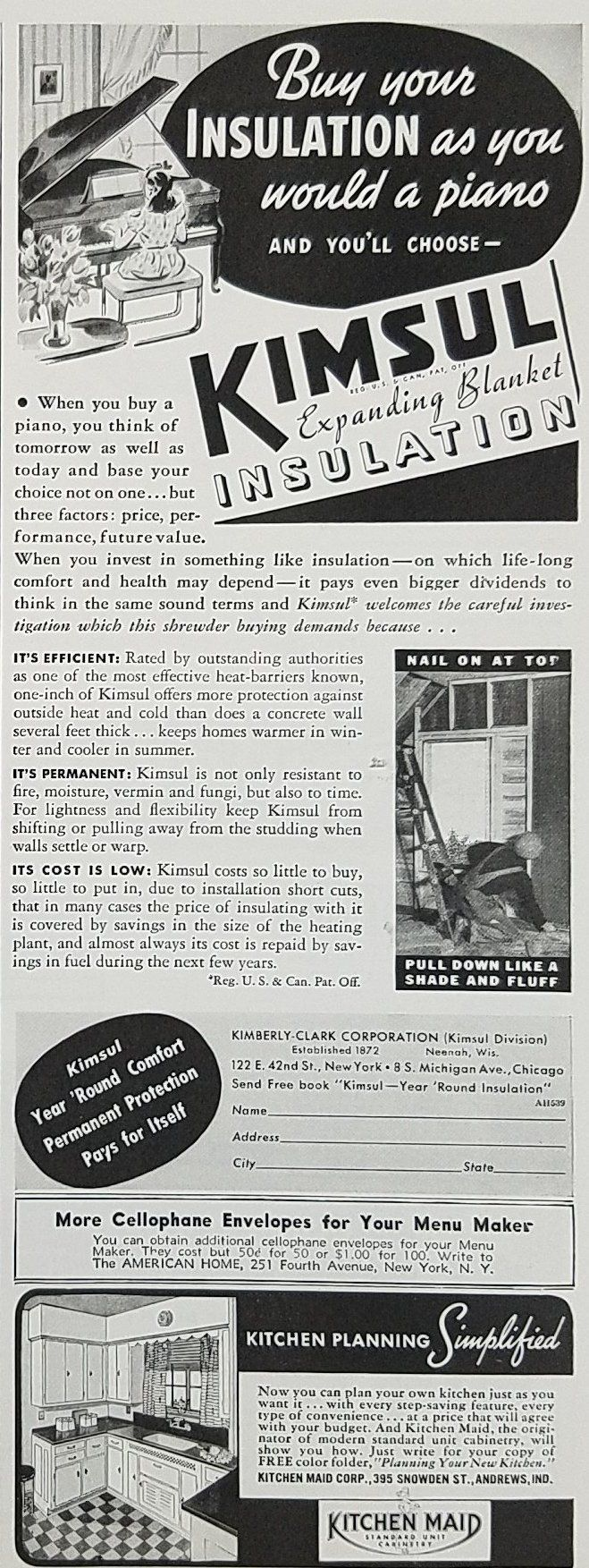 1939 Kimsul Insulation Vintage Ad - Buy As You Would A Piano