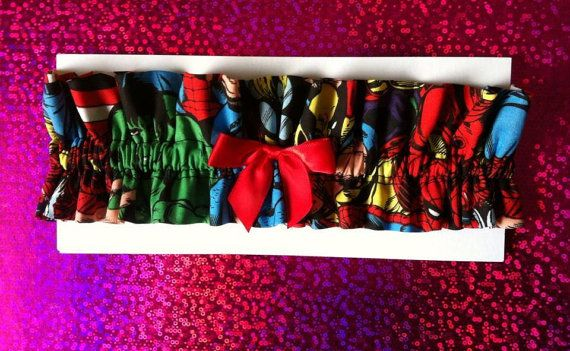 Super Cute Handmade Marvel Garter  Made from cotton, Elasticated for fit and finished with a red satin bow Bow is available in any colour, just add a note onto the order if you would like a different colour  One size only