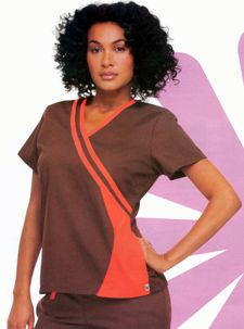 9518 Double Piped Crossover Top: 	V-neck tunic with unique contrast bias trim detail. Set-in sleeves, bust and back darts, two on-seam pockets. 65% polyester/ 35% combed cotton poplin. XS-2XL.